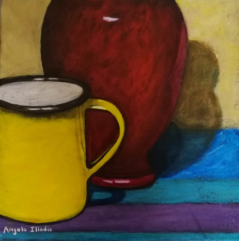 Oil Painting by Angela Iliadis titled Yellow Mug and Red Vase
