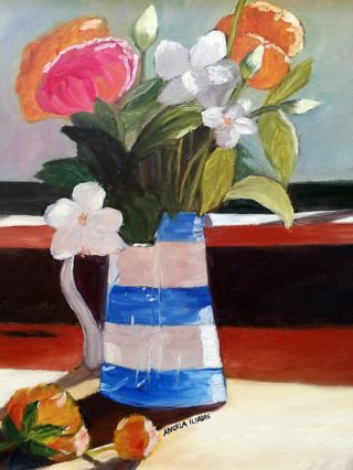 An Oil painting by Angela Iliadis in the Contemporary Realist style  depicting Still Life Flowers and Jugs with main colour being Blue Brown and Green and titled The Blue Jug