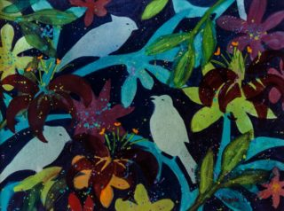 A  painting by Angela Iliadis in the Contemporary style  Birds and titled Three Birds