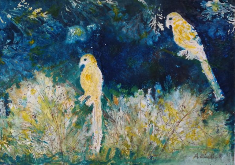 Mixed Media Painting by Angela Iliadis titled Twin Birds