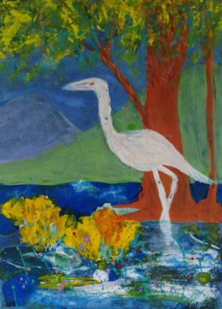 A Mixed Media painting by Angela Iliadis in the Contemporary style  depicting Birds with main colour being Blue and White and titled Wetlands