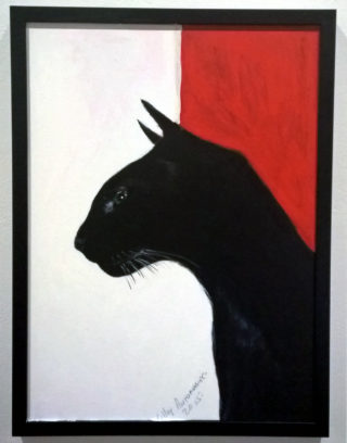 An Acrylic painting by Lilly Antoneavic in the Realist style  depicting Animals and Cats with main colour being Black Red and White and titled BLACK PRINCE