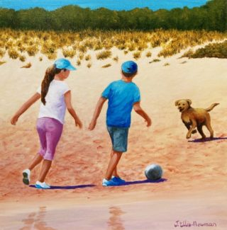 An Acrylic painting by Jenny Ellis-Newman in the Contemporary Realist style  depicting Children Beach and Boy with main colour being Blue Brown and Green and titled Children Playing Football at the Beach