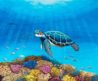 An Acrylic painting by Jenny Ellis-Newman in the Contemporary Realist style  depicting Sea Animals and Fish with main colour being Blue and titled Turtle