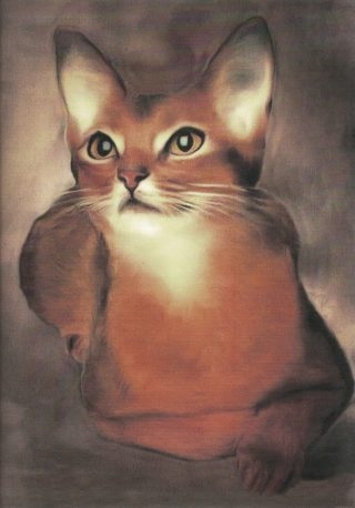 An Acrylic painting by Lilly Antoneavic in the Realist style  depicting Animals Cats with main colour being Brown and titled Abysinian Cat Resting