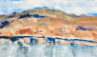 A Watercolour artwork by Margaret Morgan Watkins in the Impressionist style  depicting Landscape Hills and Water with main colour being Blue Grey and Ochre and titled The Blue Pool at Angourie