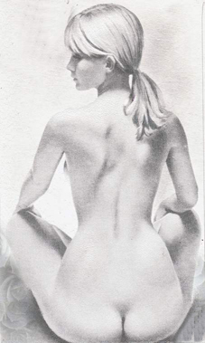 A Pencil painting by Lilly Antoneavic in the Realist style  depicting Nude Woman with main colour being Grey and titled TASTEFUL NUDE