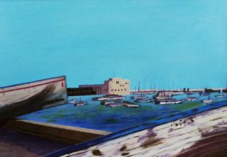 An Oil painting by Angela Iliadis depicting Boats and Water with main colour being Blue and White and titled Alexandria, Egypt