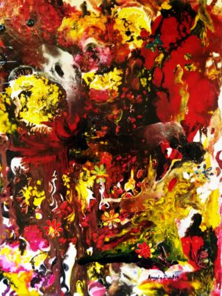 A Mixed Media painting by Angela Iliadis in the Abstract style  with main colour being Brown Red and Yellow and titled My Secret Garden No. 2