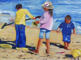 A Mixed Media painting by Angela Iliadis Beach Children and Water with main colour being Blue White and Yellow and titled Playing at the Beach