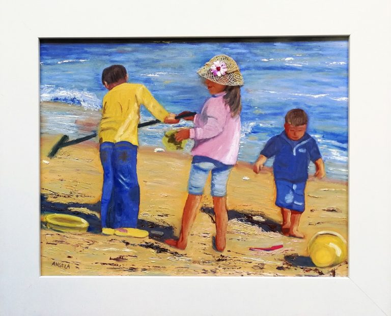Mixed Media Painting by Angela Iliadis titled Playing at the Beach