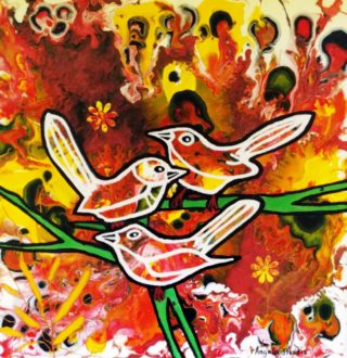 A Mixed Media painting by Angela Iliadis in the Contemporary style  depicting Birds with main colour being Red and Yellow and titled Three Birds on a Branch