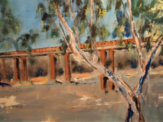 An Oil painting by Margaret Morgan Watkins depicting Bridge and Water and titled Bridge across the Murray at Echuca VIC