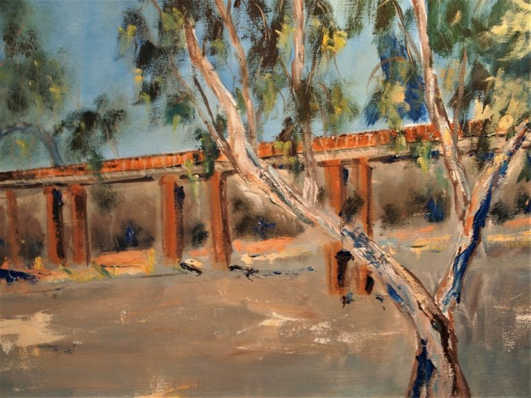 Watercolour Painting by Margaret Morgan Watkins titled Bridge across the Murray at Echuca VIC