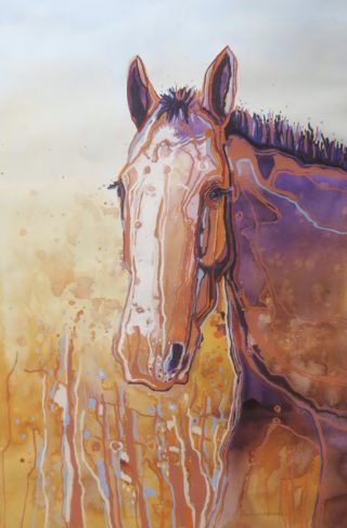 A Mixed Media artwork by Diana Bradshaw in the Realist Impressionist style  depicting Animals and Horses with main colour being Brown Purple and Yellow and titled Rufus