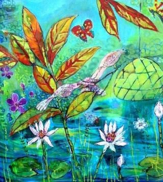 An Acrylic painting by Helen Dubrovich in the Contemporary Realist style  depicting Flowers and Garden with main colour being Blue Green and Orange and titled Memories of Bali