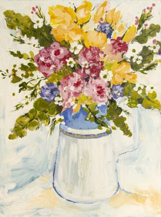 An Acrylic painting by Helen Dubrovich in the Impressionist style  depicting Flowers with main colour being Blue Olive and Pink and titled Spring Bouquet