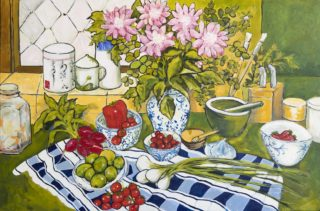 An Acrylic painting by Helen Dubrovich in the Contemporary Realist style  depicting Still Life Flowers Food and Jugs with main colour being Blue Green and Pink and titled Join me for Lunch