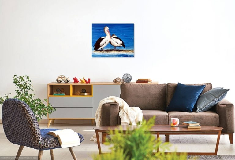 Acrylic Painting by Jenny Ellis-Newman titled Pelican Couple at the Beach