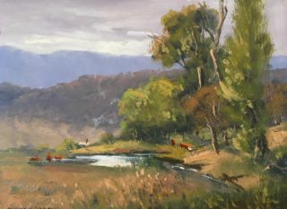 An Oil painting by Diana Garth in the Realist Impressionist style  depicting  Mountains and Trees and titled A Day at Batlow