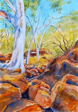 An Acrylic painting by Gregory Pastoll depicting Landscape Rocks and Trees with main colour being Blue Ochre and Olive and titled The Walk to Edney's Spring
