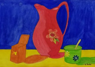 A  painting by Angela Iliadis Jugs and titled Pink Floral Jug