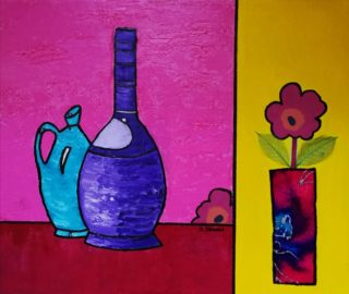 A Mixed Media painting by Angela Iliadis in the Contemporary style  depicting Still Life Jugs with main colour being Blue Pink and Purple and titled Purple and Blue Bottles