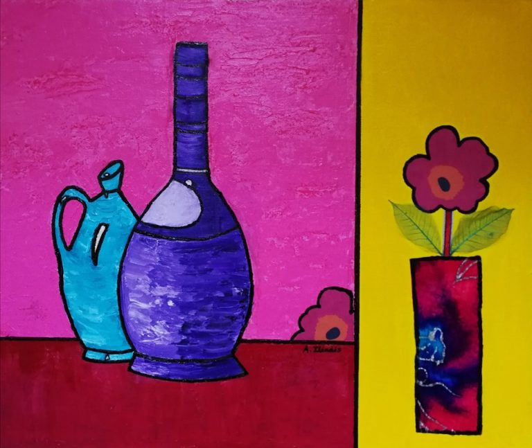 Painting by Angela Iliadis titled Purple and Blue Bottles