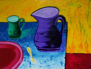 A Mixed Media painting by Angela Iliadis in the Contemporary style  depicting Still Life Jugs and Kitchenware with main colour being Blue Green and Purple and titled Purple and Green Jugs