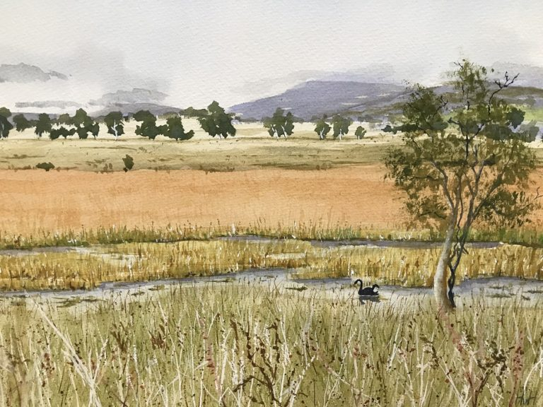 Watercolour Painting by Hans van Haalen titled Winter Lagoon near Collector, NSW