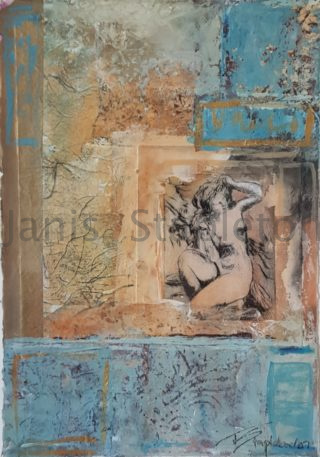 A Mixed Media painting by Janis Stapleton in the Semi-Abstract style  Woman with main colour being Blue and Pink and titled Aphrodite Aqua
