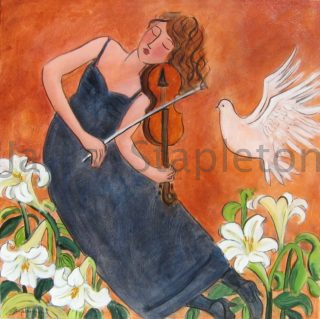 An Acrylic painting by Janis Stapleton depicting Woman Birds Flowers and Music with main colour being Blue Green and Grey and titled Musician with White Dove and Lilies