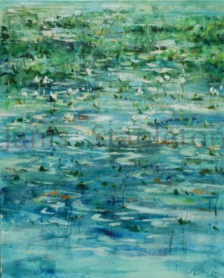 An Acrylic painting by Janis Stapleton depicting  Flowers and Water with main colour being Blue and Green and titled White Lilies Cape York