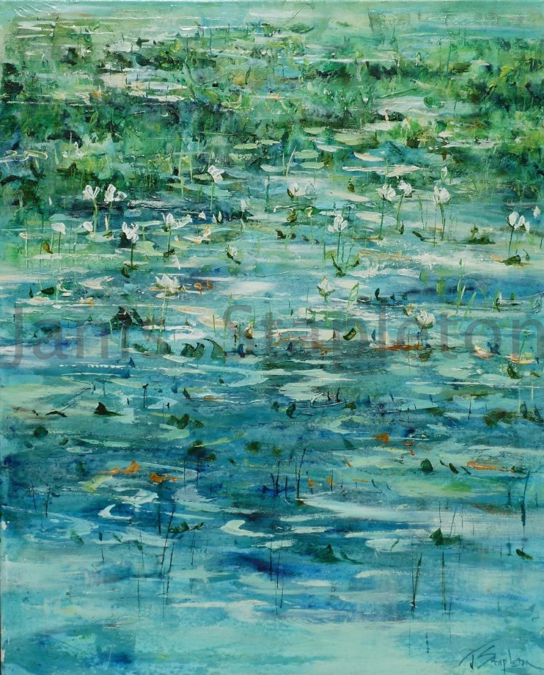 Acrylic Painting by Janis Stapleton titled White Lilies Cape York