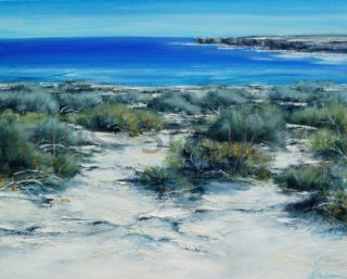 An Acrylic painting by Janis Stapleton in the Contemporary style  depicting Beach Water and Waves with main colour being Blue Grey and Olive and titled Blue Sea Sandstone