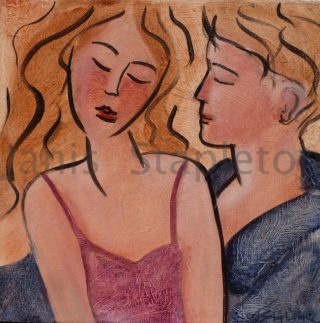 An Acrylic painting by Janis Stapleton in the Contemporary style  depicting People Man and Woman with main colour being Blue Orange and Pink and titled Lovers II