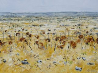 An Acrylic painting by Janis Stapleton in the Contemporary style  depicting Landscape Outback with main colour being Blue Ochre and Yellow and titled Acacia