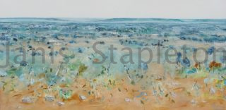 An Acrylic painting by Janis Stapleton in the Contemporary style  depicting Landscape Outback with main colour being Blue Green and Ochre and titled Acacia Kimberley