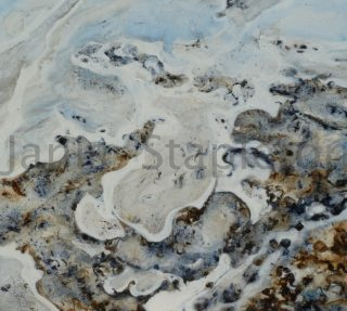 An Acrylic painting by Janis Stapleton in the Abstract style  with main colour being Grey and titled Saltwater Country