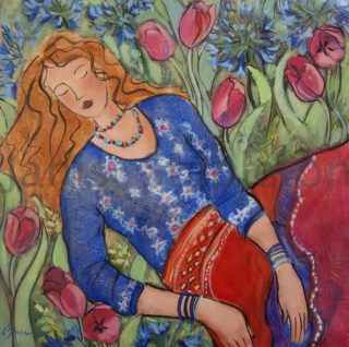 An Acrylic painting by Janis Stapleton in the Contemporary style  depicting Woman with main colour being Blue Green and Orange and titled Hippy Girl Jo