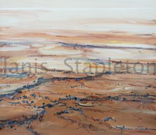 An Acrylic painting by Janis Stapleton depicting Landscape Outback with main colour being Blue and Brown and titled Lake Eyre Study