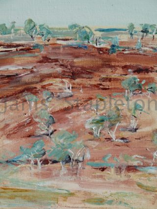 An Acrylic painting by Janis Stapleton depicting Landscape Outback with main colour being Blue and Pink and titled Karijini