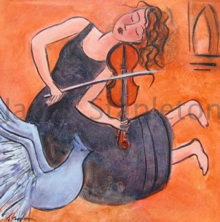 An Acrylic painting by Janis Stapleton in the Contemporary style  depicting Woman Music with main colour being Blue Grey and Orange and titled Musician and Grey Dove