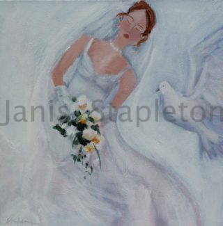 An Acrylic painting by Janis Stapleton depicting Woman with main colour being Cream and titled Bride and White Dove