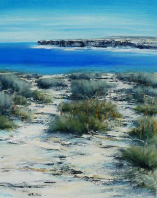 An Acrylic painting by Janis Stapleton depicting Beach and Water with main colour being Blue and Grey and titled Blue Sea Sandstone