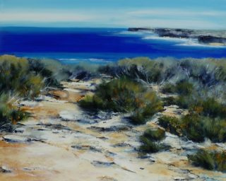 An Acrylic painting by Janis Stapleton depicting Seascape Beach and Water with main colour being Blue Grey and Ochre and titled Wild Coast Sienna