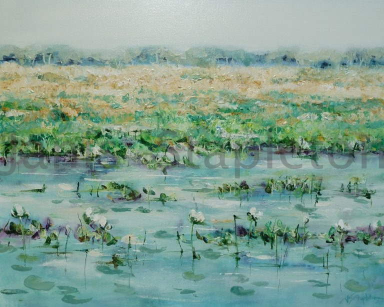 Acrylic Painting by Janis Stapleton titled White Lilies Yellow Waters Billabong