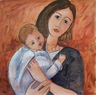 An Acrylic painting by Janis Stapleton depicting Woman and titled Mother and Child