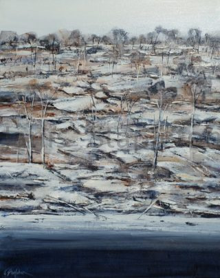 An Acrylic painting by Janis Stapleton in the Contemporary style  depicting Landscape Outback and River with main colour being Grey and titled Hacking Indigo Landscape