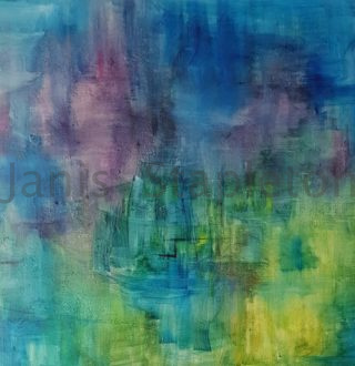 An Acrylic painting by Janis Stapleton in the Abstract style  and titled Billabong Abstract Blue Violet